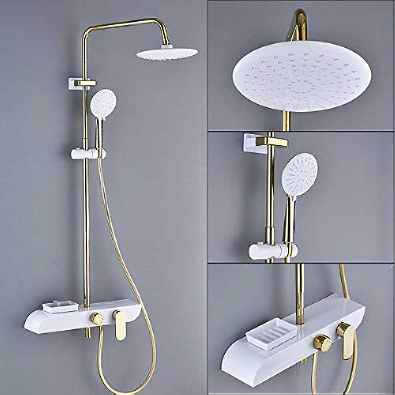 LWSFZAS Golden Weiß Bad Dusche Wasserhahn Wand Regendusche Set Regendusche 8 Duschkopf Commodity Regalmischer Ventil SeifenkisteChrom und Golden