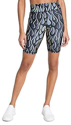 Terez Women's x TORCH'D Bike Shorts, Torch'd Gold Flame, Medium