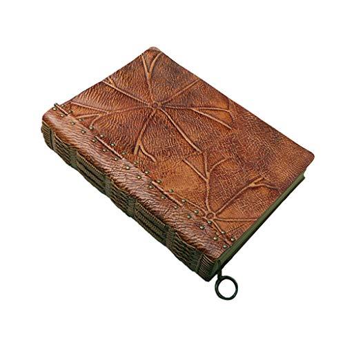 SFF Cuadernos de Oficina Libreta Diario de Viaje Cuaderno A4 Retro Hecho a Mano de la PU de Cuero clásico en Relieve de Viajes Diario Diario de la Escuela Cuaderno de Tapa Blanda (Color : Brown)