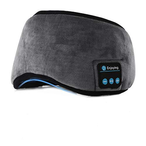 Jinxuny Bluetooth Sleeping Eye Mask Auriculares Sleeping Travel Música Eye Cover Wireless Lavable Sleep Mask Máscara de Ojo Ultra Cómoda con Auricular para Hombre Mujer Durmiendo (Color : Grey)