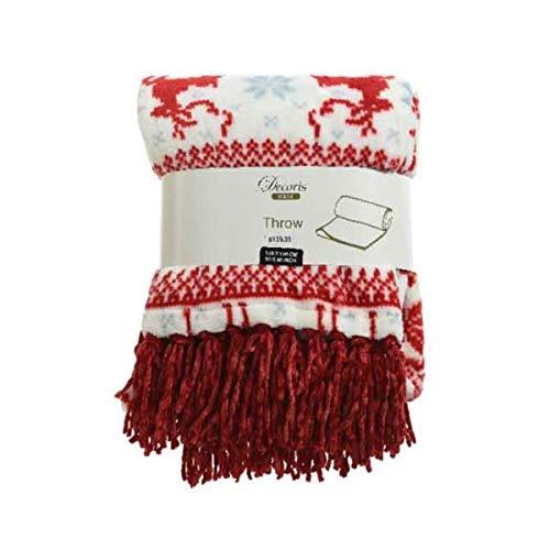 Kaemingk - Manta de forro polar para cama o sofá (150 x 130 cm), diseño de reno, color rojo, gris y blanco