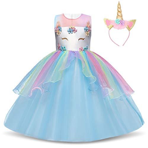 TTYAOVO Chicas Estrella Unicornio Fancy Vestido Princesa Flor Desfile de Nios Vestidos sin Mangas Volantes Vestido de Fiesta Talla 7-8 Aos Azul