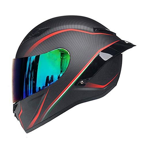 Woljay Vollgesicht Motorradhelm Unisex-Erwachsener Offroad Moto Street Bike ATV Helme Matt Rote Linie DOT Approved (Colours,XL)