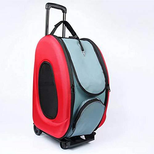 CHENSQ Carro de transporte para mascotas, funda transpirable, equipo de viaje con ruedas, carrito de gato y perro