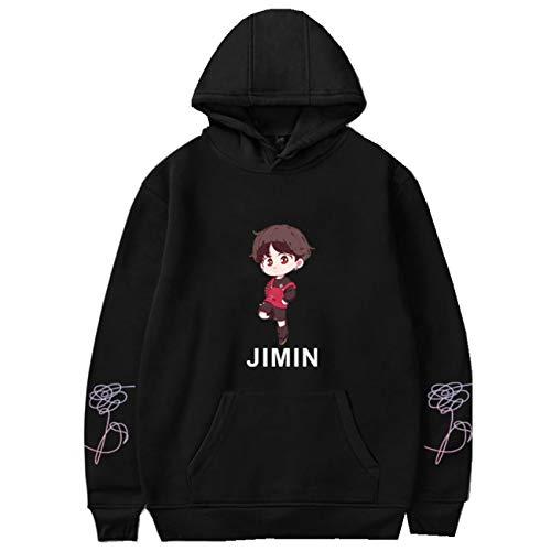 SERAPHY Unisex Kapuzenpullover niedlicher Avatar-Druck Sweatshirt für Army Suga Jin Jimin Jung Kook J-Hope Rap-Monster V-95J-Black-M