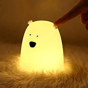 Night Light for Kids, Cute Little Bear Night Light Portable Color Changing Night Lamp Silicone Soft Led Nightlights, Battery Powered Nursery Room Decor Light Gifts for Girls and Boys
