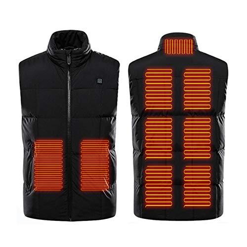 FR&RF Chaleco calefactor lavable recargable invierno cálido chaqueta camping esquí calefacción chaqueta zona 9 calefacción eléctrica chaleco negro M