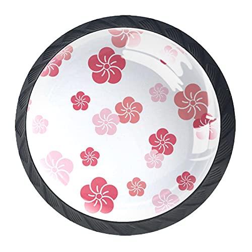 Juego de 4 pomos y asas para armario de cocina, diseño de flores de cerezo japonesas rosas, 4 unidades, 4 x 3,8 cm, tiradores para cajón, juego de pomos
