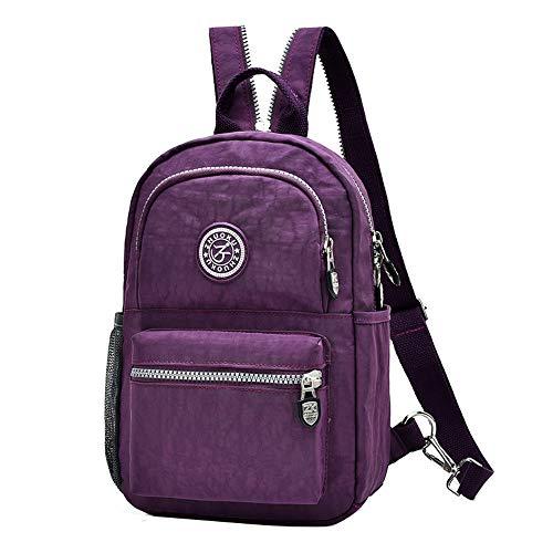 Fashion Backpack Waterproof Nylon Rucksack School College Bookbag Shoulder Purse (Purple)(Size: S)