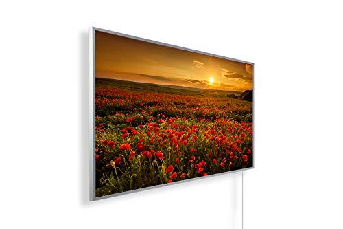 Könighaus Fern Infrarotheizung - Bildheizung in HD Qualität mit TÜV/GS - 200+ Bilder – mit Thermostat 7 Tage Programm - 600 Watt (48. Sonnenuntergang Klatschmoon Feld)