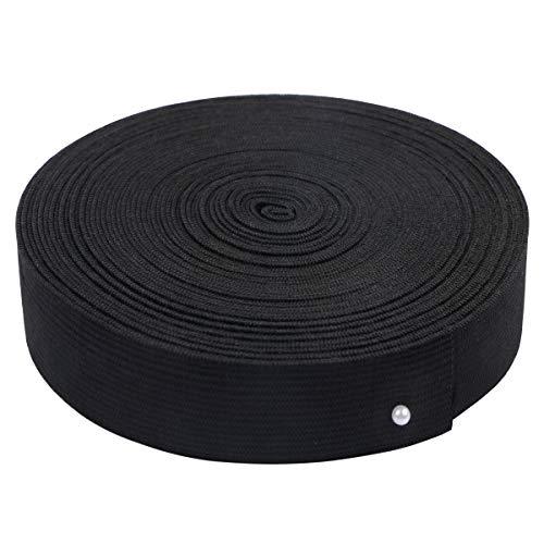 1 inch Wide Black Knit Elastic Spool Heavy Stretch High Elasticity Knit Elastic Band for Waistbands Crafts, 10 Yard