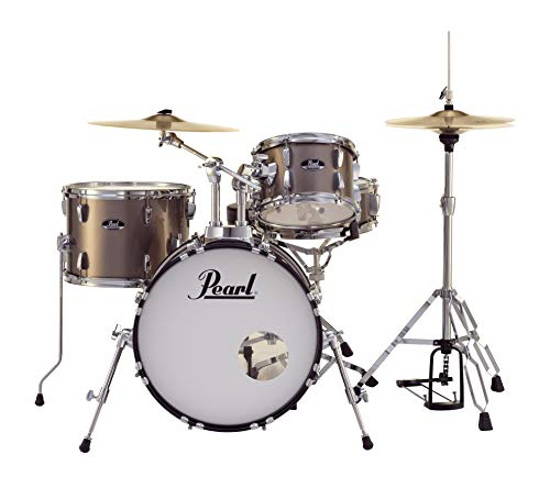 Pearl Roadshow Drum Set 4-Piece Complete Kit with Cymbals and Stands, Bronze Metallic (RS584C/C707)