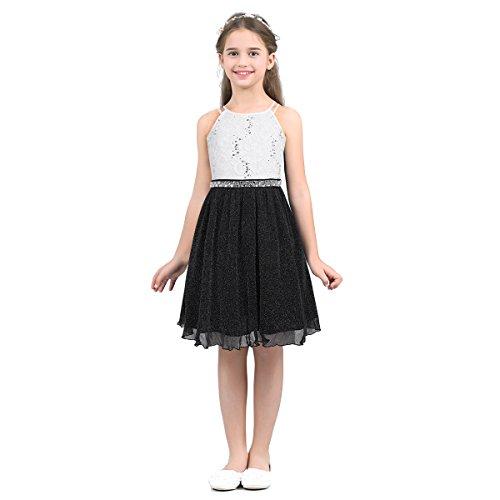 Aislor Elegante Vestido para Niña Princesa sin Mangas con Diamantes Vestido de Fiesta Cumpleaños Ceremonia Vestido de Boda Dama de Honor Chica Traje de Gala Noche Blanco Negro 14 años