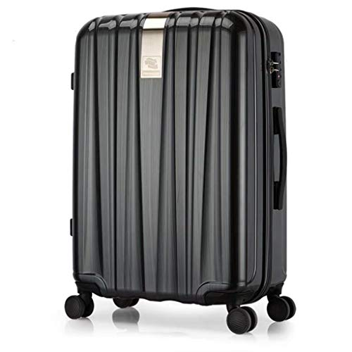 HSF Hanke Town store treasure hard box universal wheel trolley case 20 inch suitcase 24 inch male suitcase female boarding chassis Luggage Sets (Color : Black, Size : 26)