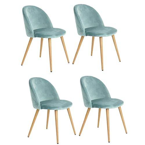 Juego de 2/4/6 sillas de terciopelo estilo escandinavo, patas de metal, silla de comedor (verde, 4)