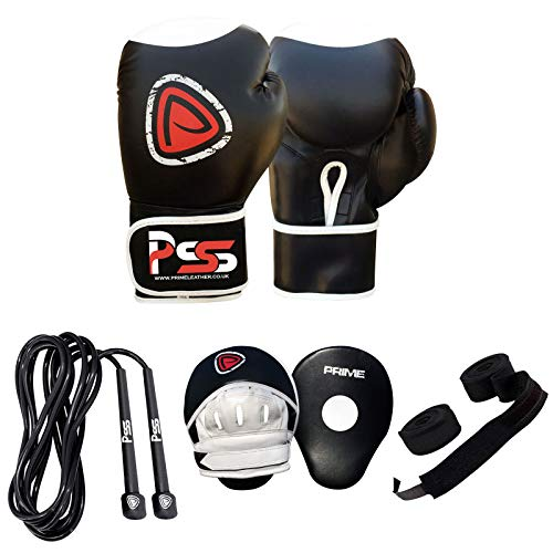Prime Leather Erwachsene Boxhandschuhe Set Training Focus Pads FAUSTHANDSCHUH MMA HANDSCHÜTZER Set WEIß S7 - Focus Pad-1105, Boxhandschuhe 14 Oz
