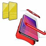 Jtailhne Compatible con Funda One Plus 5T, 360° 3 in 1 Slim Hard PC Carcasa Anti-Scratch, a Prueba de Choque Full-Protección Case Rojo & 2X Cristal Templado