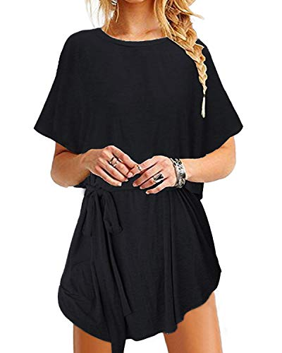 YOINS Sommerkleid Damen Tunika Tshirt Kleid Bluse Kurzarm MiniKleid Maxikleid Rundhals Bindegürtel-Schwarz M