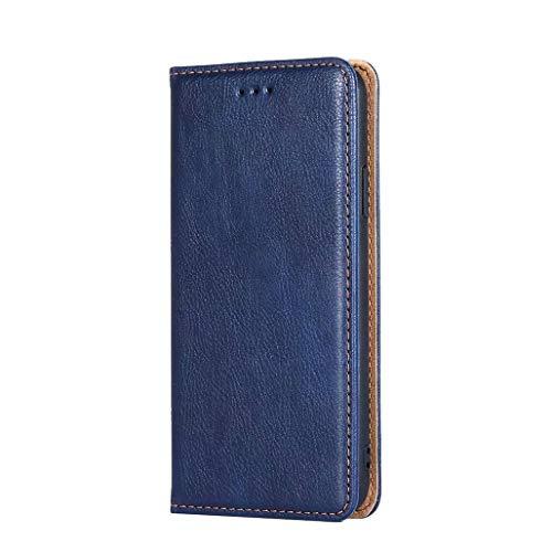GOGME Hülle für LG K52, Premium PU Leder Magnetische Automatische Adsorption Brieftasche Schutzhülle Flip Handyhülle für LG K52, Blau