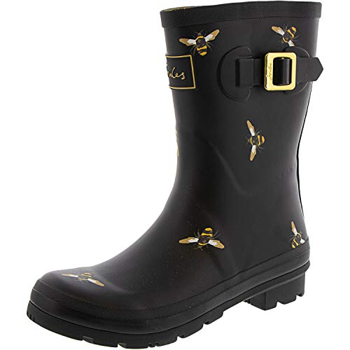 Joules Womens Molly Welly Mid Height Rain Boot, Black Metallic Bees, Size 7
