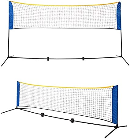 Backyard Indoor Adjustable Height Nylon Sports Net with Stainless Steel Poles Outdoor Court Carry Bag Beach Pickleball,Soccer for Kids Volleyball Portable Badminton Net Set Driveway Tennis