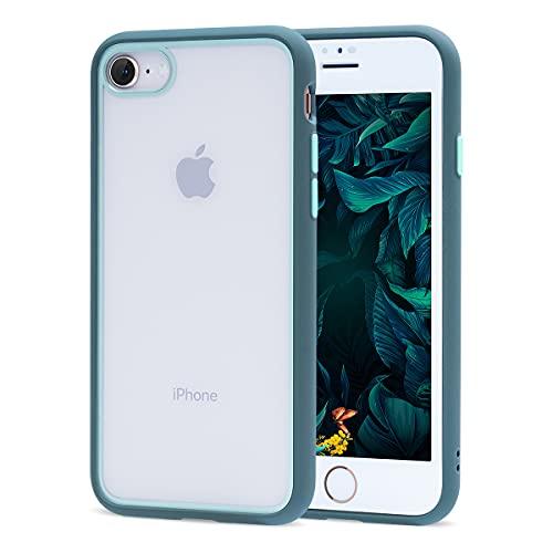 ZELAXY Funda Transparente para iPhone SE iPhone 7 iPhone 8 (+ Protector de Pantalla) – Carcasa Trasera Bumper Antigolpes Arañazos– con Bordes de Silicona – no amarillea TPU PC – Gris