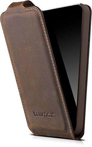 Blumax Flipcase kompatibel mit Apple iPhone SE 5 / 5S Handyhülle aus Leder Handytasche mit Magnetverschluss für 4 Zoll Smartphone Lederhülle Vintage antik Braun