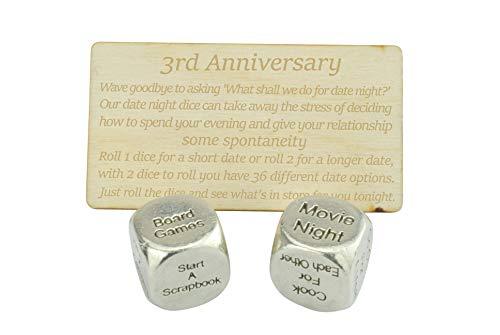 Dados de metal para 3 años de aniversario, fecha de noche, para crear una única fecha de tercer aniversario