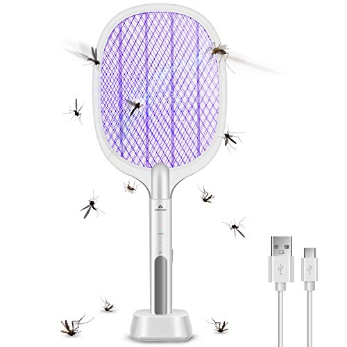 Bug Zapper, Mosquito Killer Mosquitoes Lamp & Racket 2 in 1, USB Rechargeable, 6 LED Light beads, Insect Trap Electric for Home and Outdoor Insect and Flying Bugs Trap Fruit Fly Gnat Mosquito Killer