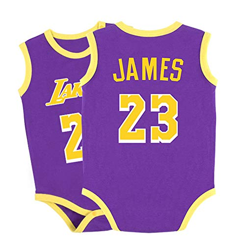 Baby Bodysuit Jersey Lakers James # 23 Basketball Trikots Ärmelloser Krabbelanzug für Baby Boy Girl, Basketball Jumpsuit Sportswear-purple-66(cm)