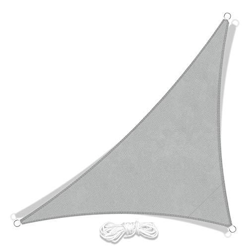 JYYnet Vela Ombreggiante, Vela Parasole Triangolo Tenda a Vela Impermeabile Protezione Raggi UV Vela Tenda per Giardino Terrazza Campeggio(3 x 3 x 4,3 m, grigio chiaro)