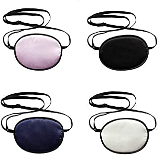 MISAZ 4 Pieces Silk Eye Patches for Adults and Kids, Soft Comfortable Pirate Single Eye Mask with Elastic Strap for Amblyopia Strabismus Lazy Eye