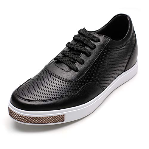 CHAMARIPA Men's Invisible Height Increasing Elevator Shoes-Breathable Mesh Leather Sneakers-2.36 Inches Taller H71C26K175D 8 US Black