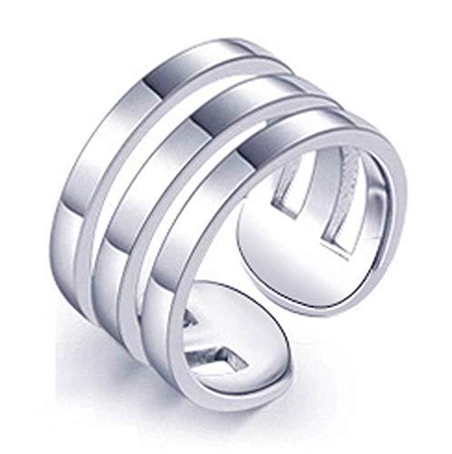 LIMUZHI Anillo de plata de ley 925, para hombres y mujeres, de moda, índice de hip-hop, anillo de boda, anillo de regalo adecuado para tamaño 10-18, tres anillos