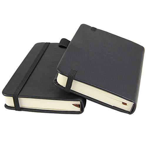 Confezione da 2 quaderni tascabili da 8,5 x 14 cm, copertina rigida con portapenne, tasche interne, carta a righe spessa 100 g/m², colore nero