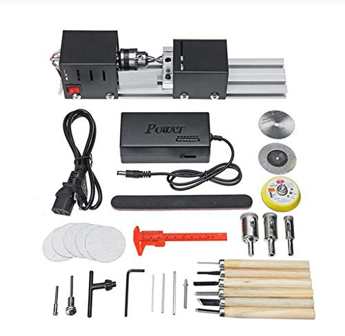 200W CNC Mini Lathe Machine Tool DIY Woodworking Wood lathe Milling machine Grinding Polishing Beads Drill Rotary Tool Set