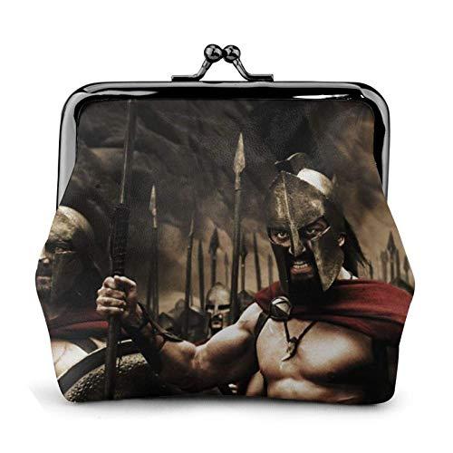 Monedero de la película 300 guerreros espartano monedero monedero tarjetas de crédito bolsa beso cerradura exquisita hebilla maquillaje carteras cuero