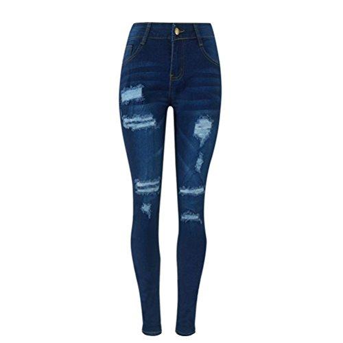 Vectry Jeans Damen Slim Fit Skinny Fit Jeans Destroyed Herbst Jogger Push Up Ankle Straight Leg Mit LöChern Stretch Denim Relaxed Fit Hose Aufnäher Hosen, Zerrissene Bleistifthosen Stretch (S, Blau)