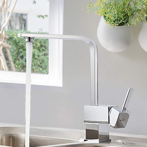 Auralum® Armatur Einhebel Wasserhahn Waschtischarmatur Wasserfall Waschbecken Bad Küche - 6