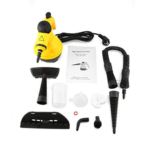73JohnPol Mehrzweck-Elektro-Dampfreiniger Tragbarer Handdampfer Haushaltsreiniger Zubehör Küchenbürste, gelb & schwarz