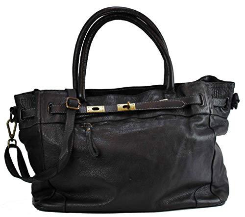 BZNA Mila - Borsa da donna in pelle, stile vintage, colore: nero