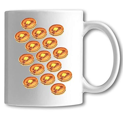 Iprints Meerdere boter en siroop pannenkoeken eten liefhebbers witte keramische thee koffie mok