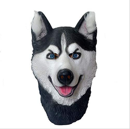 HANJIAJKL Latexmaske Siberian Husky Hundekopfmaske - Simulation Tiermaske, Halloween Lustige Party Kopfbedeckung,Masken/Partyhüte, Partymasken & Zubehör