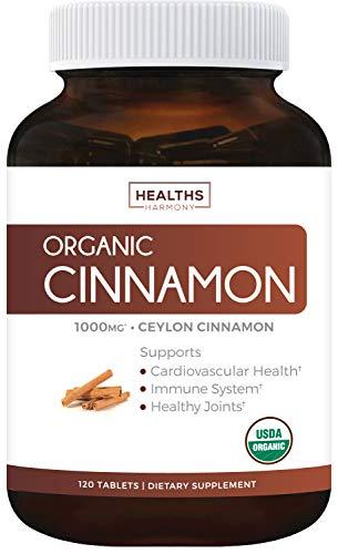 USDA Organic Ceylon Cinnamon (120 Tablets & Vegetarian) 1000mg per Serving for Natural Support - Cinnamon Bark Powder from Cinnamomum Verum Supplement - No Capsules or Pills