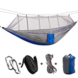 RMLC Camping/jardín Hamaca con mosquitera Muebles de Exterior 1-2 Personas Cama Colgante portátil Resistencia paracaídas Tela Columpio para Dormir, Gris Azul