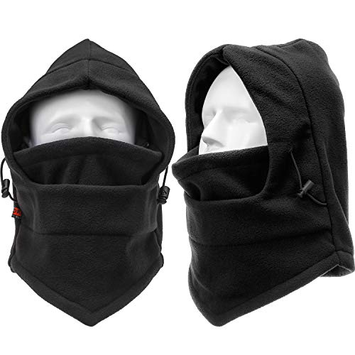 Boao 2 Pack Winter Ski Mask Balaclava Windproof Ski Mask Full Face Mask Neck Warmer Ear Protection Winter Sports Cap for Women Men Snowboard Cycling Camping Hunting Hiking Hat Black
