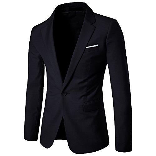 ZhuiKun Slim Fit casual botón se adapta capa de la chaqueta chaqueta de negocios para Hombre 3XL Negro, Negro