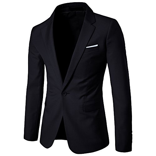 ZhuiKun Blazer Hombre Americana Chaqueta Slim Fit Casual Abrigos Negro M