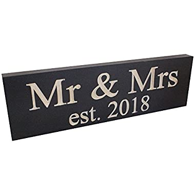 "Wedding Sign: Made from Solid Reclaimed Wood & Individually Carved - Made in the USA - Lightweight, Handmade, Wedding Decor - Newlywed Gifts - Home Decoration - 11.5"" x 3.5"" (Mr. & Mrs. 2018)"