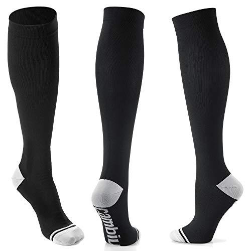 CAMBIVO 3 Pares Medias de Compresion Mujer y Hombre, Calcetines Compresivos Enfermera, Calcetines de Compresión para Running, Deporte, Ciclismo, Futbol, Volar